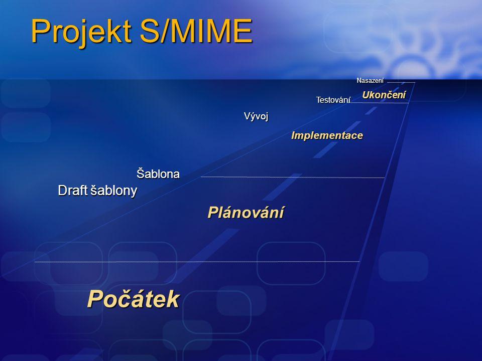 Projekt S/MIME Počátek Plánování Implementace Ukončení Šablona Draft šablony Vývoj Testování Nasazení