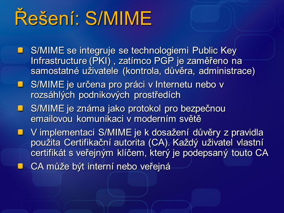 Řešení: S/MIME S/MIME se integruje se technologiemi Public Key Infrastructure (PKI), zatímco PGP je zaměřeno na samostatné uživatele (kontrola, důvěra