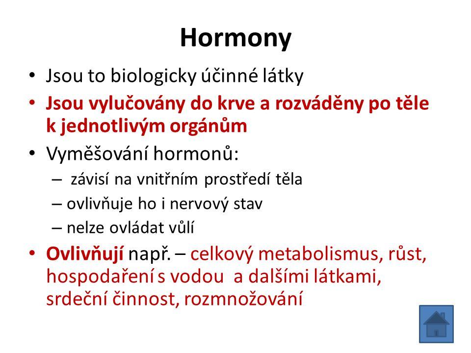 Hormony • Jsou to biologicky účinné látky • Jsou vylučovány do krve a rozváděny po těle k jednotlivým orgánům • Vyměšování hormonů: – závisí na vnitřn