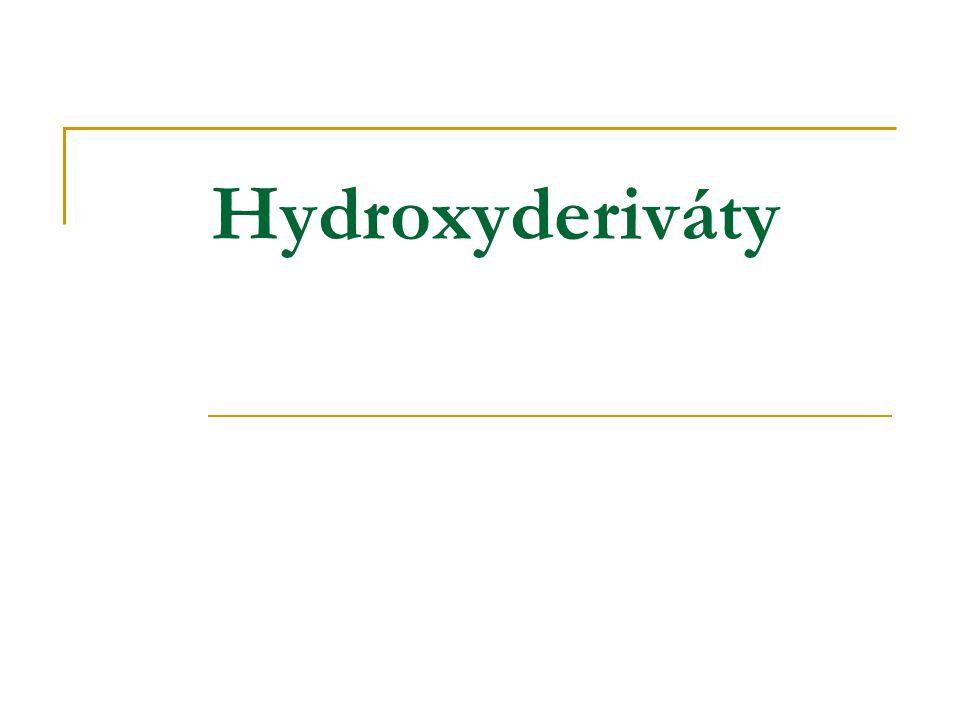 Chemické vlastnosti hydroxysloučenin Dehydrogenace a oxidace a)Primární alkohol Cu, 300°C R-CH 2 -OH  R-CH=O + H 2 b)Sekundární alkohol Cu, 300°C  + H 2