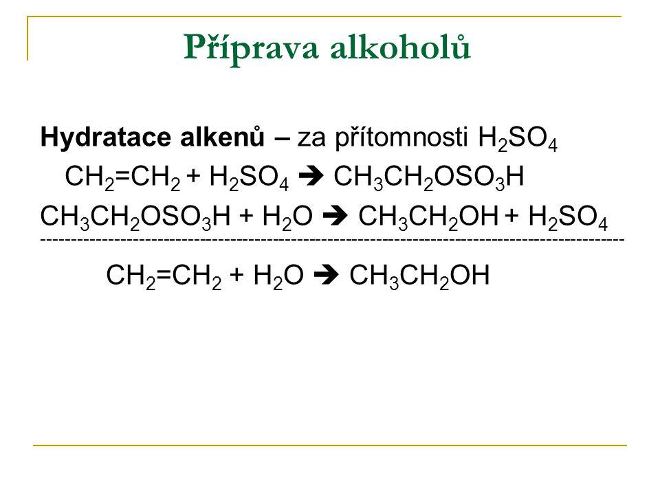 Příprava alkoholů Hydratace alkenů – za přítomnosti H 2 SO 4 CH 2 =CH 2 + H 2 SO 4  CH 3 CH 2 OSO 3 H CH 3 CH 2 OSO 3 H + H 2 O  CH 3 CH 2 OH + H 2