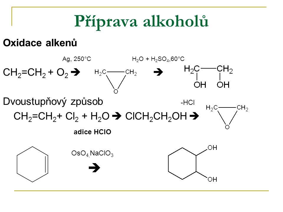 Příprava alkoholů Oxidace alkenů Ag, 250°C H 2 O + H 2 SO 4,60°C CH 2 =CH 2 + O 2   Dvoustupňový způsob -HCl CH 2 =CH 2 + Cl 2 + H 2 O  ClCH 2 CH 2