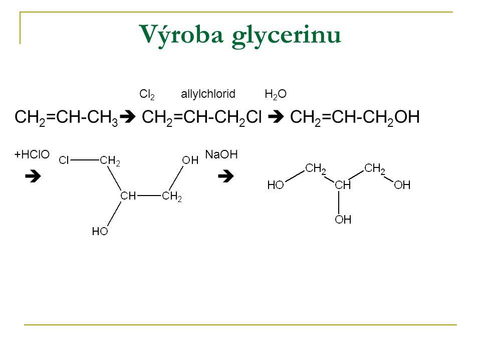 Výroba glycerinu Cl 2 allylchlorid H 2 O CH 2 =CH-CH 3  CH 2 =CH-CH 2 Cl  CH 2 =CH-CH 2 OH +HClO NaOH  