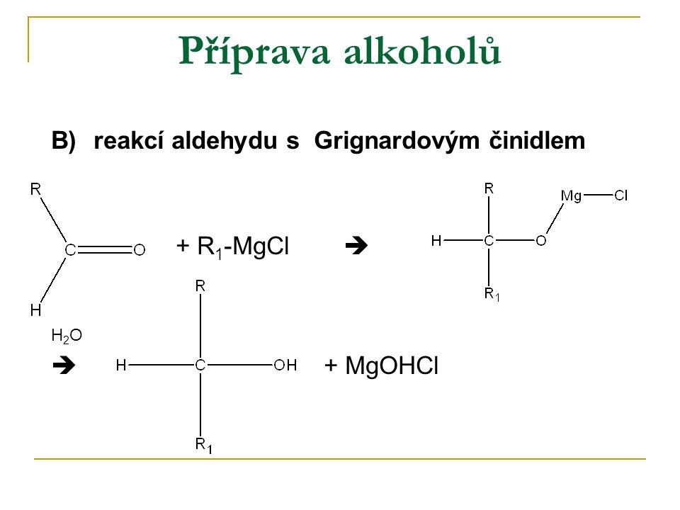 Příprava alkoholů B)reakcí aldehydu s Grignardovým činidlem + R 1 -MgCl  H 2 O  + MgOHCl