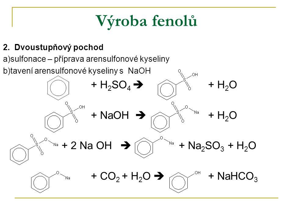 Výroba fenolů 2. Dvoustupňový pochod a)sulfonace – příprava arensulfonové kyseliny b)tavení arensulfonové kyseliny s NaOH + H 2 SO 4  + H 2 O + NaOH