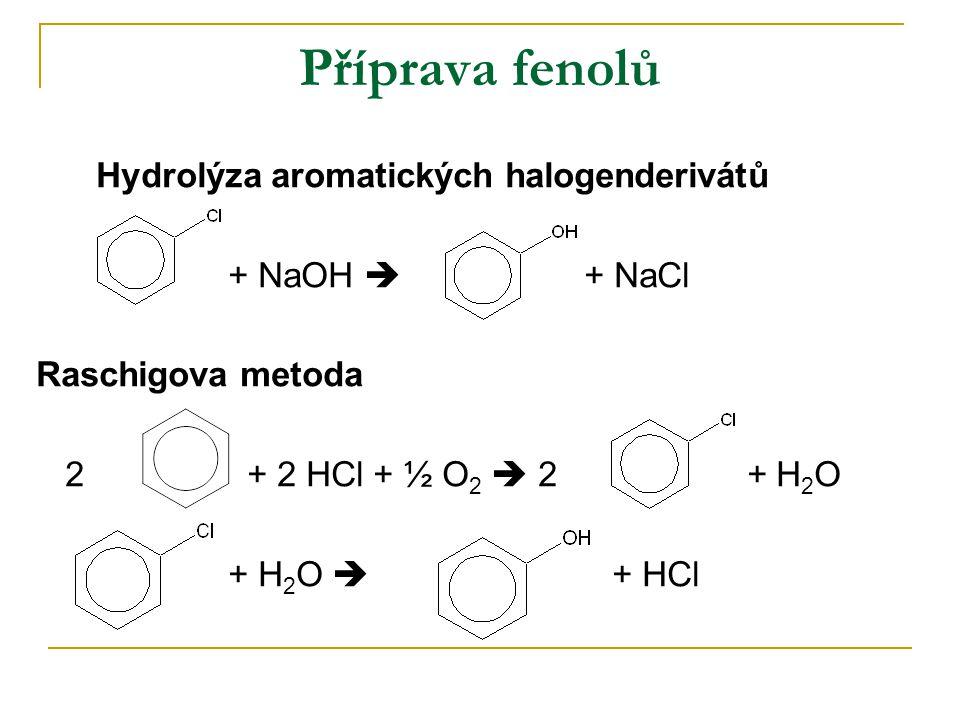 Příprava fenolů Hydrolýza aromatických halogenderivátů + NaOH  + NaCl Raschigova metoda 2 + 2 HCl + ½ O 2  2 + H 2 O + H 2 O  + HCl