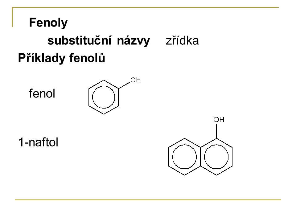 Fyzikální vlastnosti hydroxysloučenin • kapaliny – od dodecylalkoholu pevné látky • fenol – tuhá látka • alkoholy obsahují H-můstky • alkoholy s nejvýše 3 uhlíky jsou neomezeně mísitelné s vodou, vyšší se mísí omezeně, nejvyšší se nemísí • rozpustnost fenolů ve vodě je malá