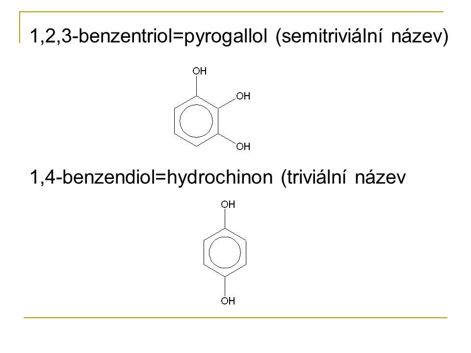 Použití, význam a příklady Propantriol=glycerol-v kosmetice, farmacii, nitroglycerin Fenol- dezinfekce, fenolformaldehydové pryskyřice Kresoly=methylfenoly, desinfekce, výroba fenoplastů, impregnace dřeva Hydrochinon-vývojky Naftoly- karcinogeny, dříve barviva 2,4,6,trinitrofenol=kyselina pikrová-výbušniny