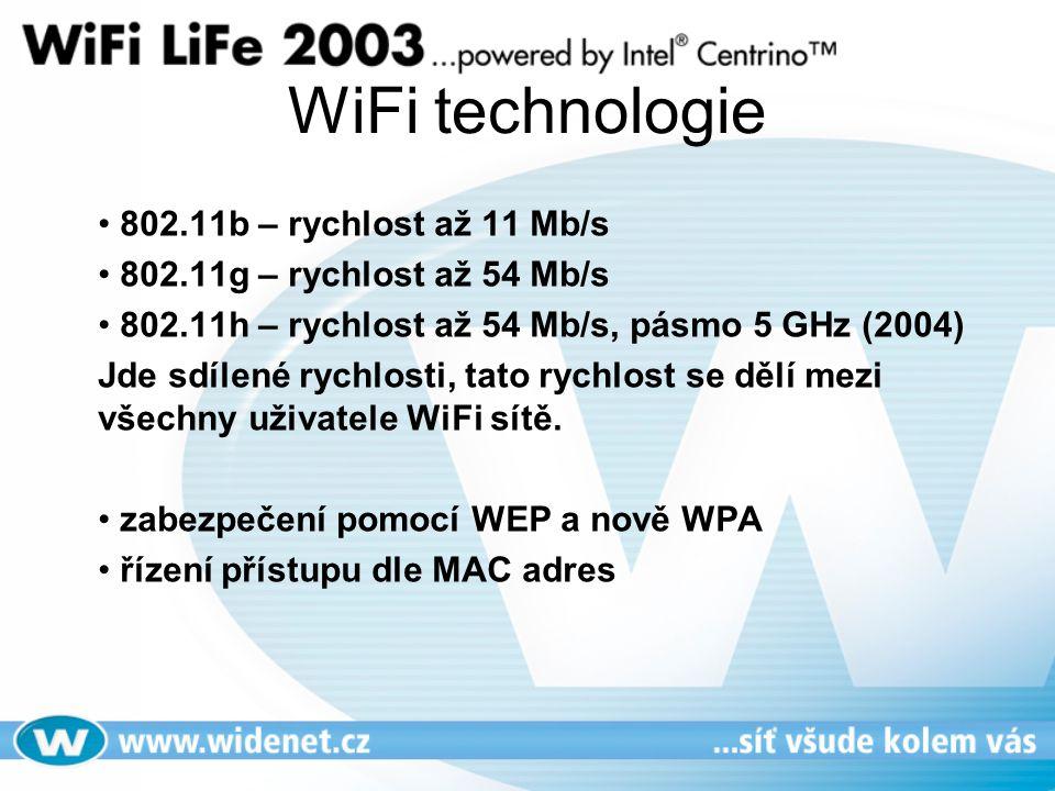 WiFi technologie • 802.11b – rychlost až 11 Mb/s • 802.11g – rychlost až 54 Mb/s • 802.11h – rychlost až 54 Mb/s, pásmo 5 GHz (2004) Jde sdílené rychlosti, tato rychlost se dělí mezi všechny uživatele WiFi sítě.