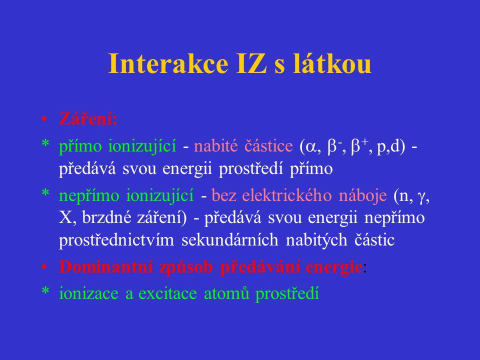 Interakce IZ s látkou •Záření: *přímo ionizující - nabité částice ( ,  -,  +, p,d) - předává svou energii prostředí přímo *nepřímo ionizující - bez elektrického náboje (n, , X, brzdné záření) - předává svou energii nepřímo prostřednictvím sekundárních nabitých částic •Dominantní způsob předávání energie: *ionizace a excitace atomů prostředí