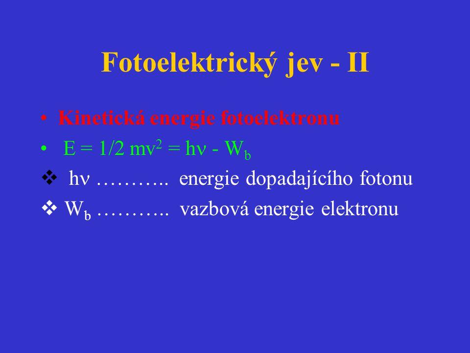 Fotoelektrický jev - II •Kinetická energie fotoelektronu • E = 1/2 mv 2 = h  - W b  h  ………..