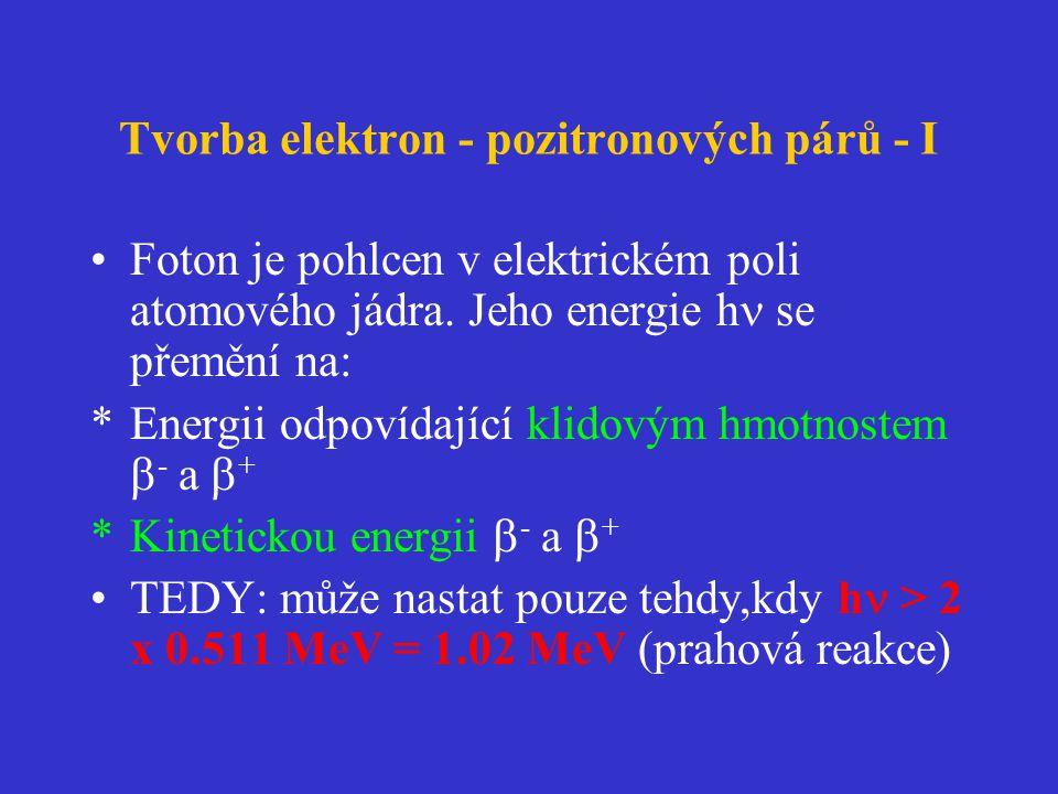 Tvorba elektron - pozitronových párů - I •Foton je pohlcen v elektrickém poli atomového jádra.
