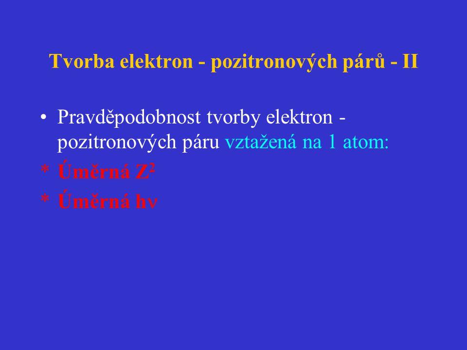 Tvorba elektron - pozitronových párů - II •Pravděpodobnost tvorby elektron - pozitronových páru vztažená na 1 atom: *Úměrná Z 2 *Úměrná h 