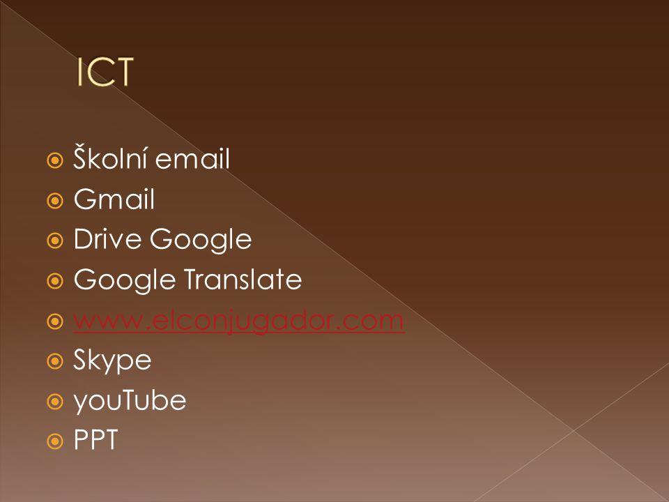  Školní email  Gmail  Drive Google  Google Translate  www.elconjugador.com www.elconjugador.com  Skype  youTube  PPT