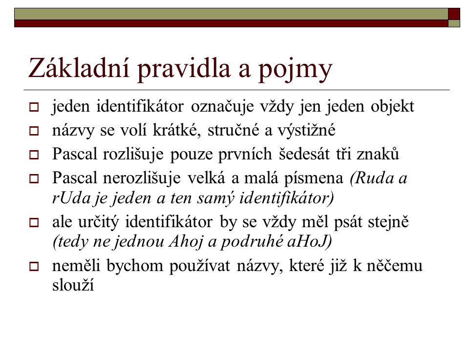 Základní pravidla a pojmy Nejkratší program v Pascalu vypadá takto : Program NázevProgramu; Begin End.