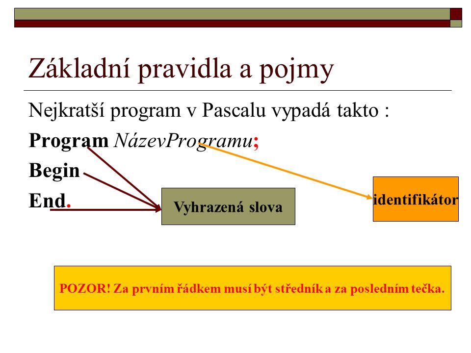 Základní pravidla a pojmy  komentář = text, který do programu vkládáme, abychom se v něm později vyznali  samotné komentáře se uzavírají do složených závorek a můžou obsahovat úplně všechno kromě konce složené závorky - taky se vyhýbejte smajlíkovi *)  Program Komentar; {Tento program nám ukazuje, jak používat komentáře}  Begin  {Za tento komentář lze vložit skutečné příkazy}  End.