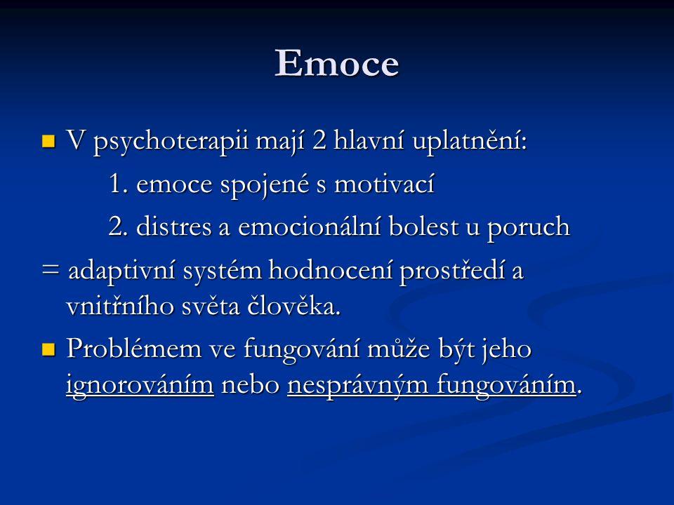 Emoce  V psychoterapii mají 2 hlavní uplatnění: 1. emoce spojené s motivací 2. distres a emocionální bolest u poruch = adaptivní systém hodnocení pro
