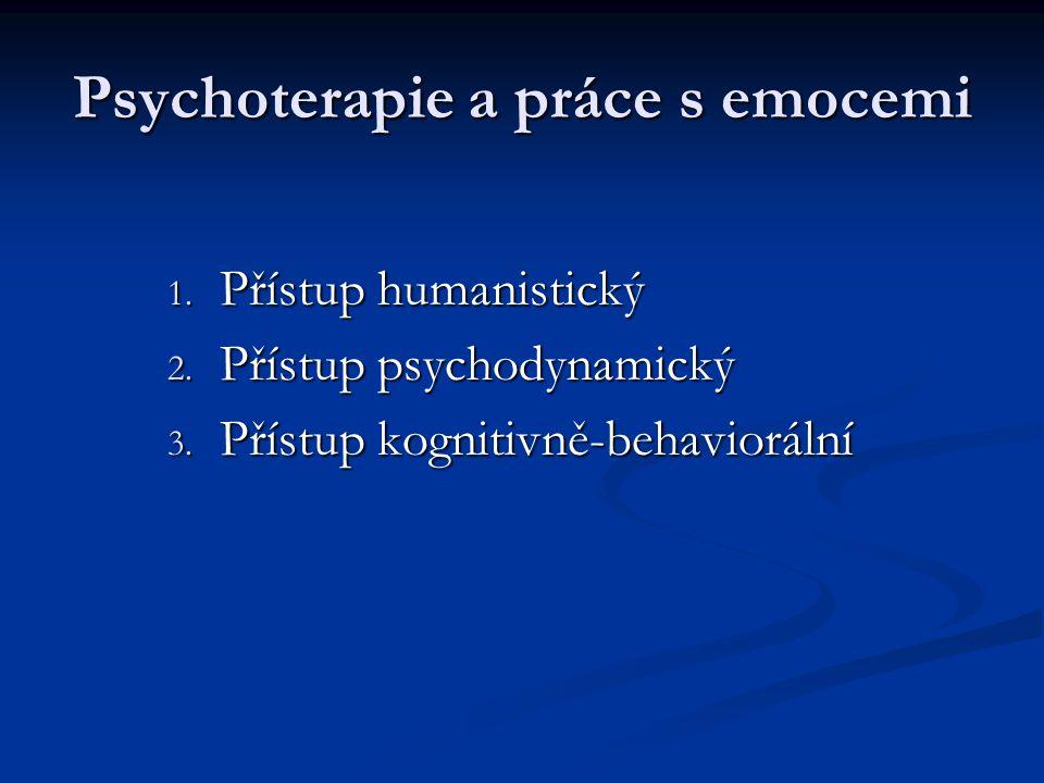 Psychoterapie a práce s emocemi 1. Přístup humanistický 2. Přístup psychodynamický 3. Přístup kognitivně-behaviorální