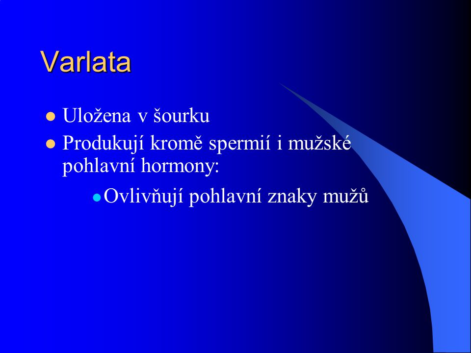Varlata  Uložena v šourku  Produkují kromě spermií i mužské pohlavní hormony:  Ovlivňují pohlavní znaky mužů