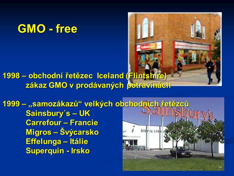 """1998 – obchodní řetězec Iceland (Flintshire) zákaz GMO v prodávaných potravinách 1999 – """"samozákazů velkých obchodních řetězců Sainsbury´s – UK Carrefour – Francie Migros – Švýcarsko Effelunga – Itálie Superquin - Irsko GMO - free"""