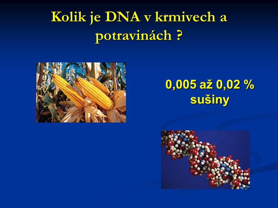Kolik je DNA v krmivech a potravinách ? 0,005 až 0,02 % sušiny