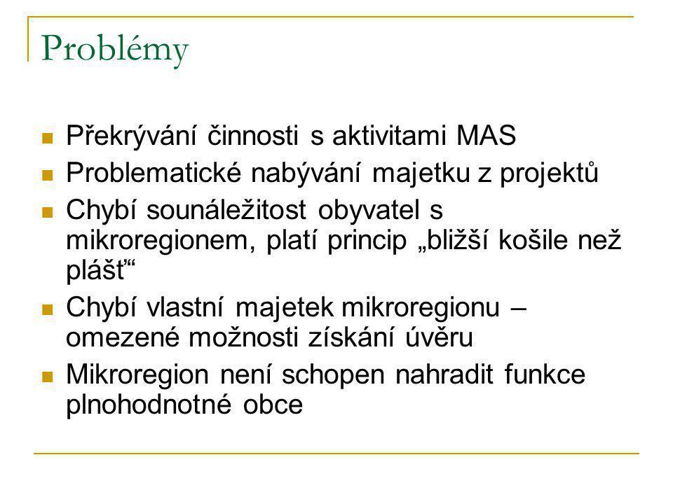 Problémy  Překrývání činnosti s aktivitami MAS  Problematické nabývání majetku z projektů  Chybí sounáležitost obyvatel s mikroregionem, platí prin
