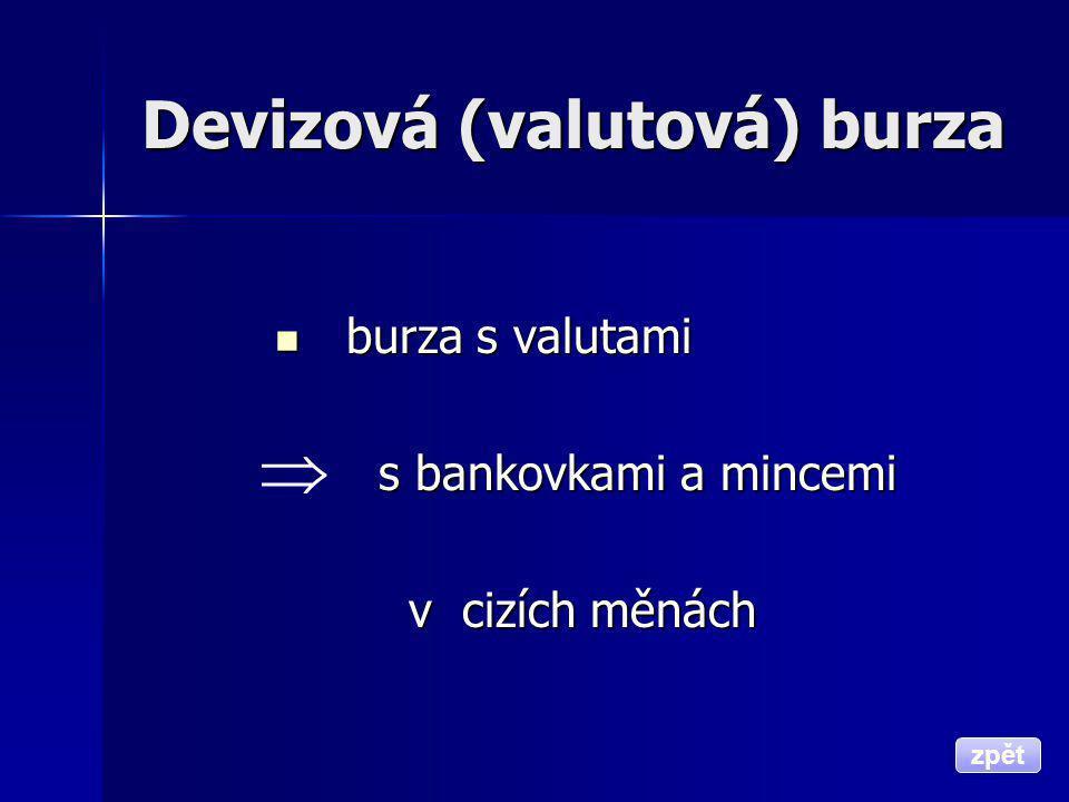Devizová (valutová) burza  burza s valutami s bankovkami a mincemi s bankovkami a mincemi v cizích měnách v cizích měnách zpět 