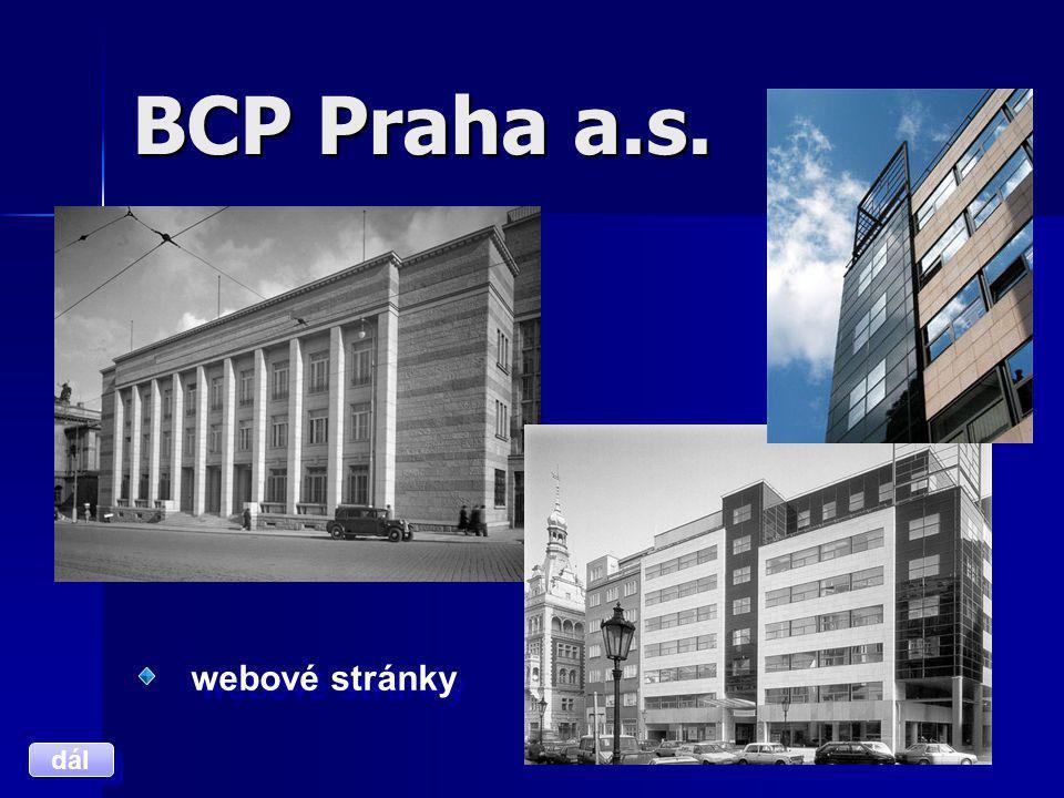 BCP Praha a.s. webové stránky dál