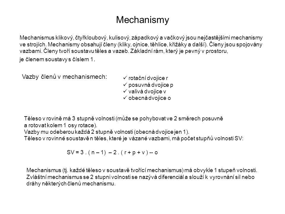 Mechanismy Mechanismus klikový, čtyřkloubový, kulisový, západkový a vačkový jsou nejčastějšími mechanismy ve strojích. Mechanismy obsahují členy (klik