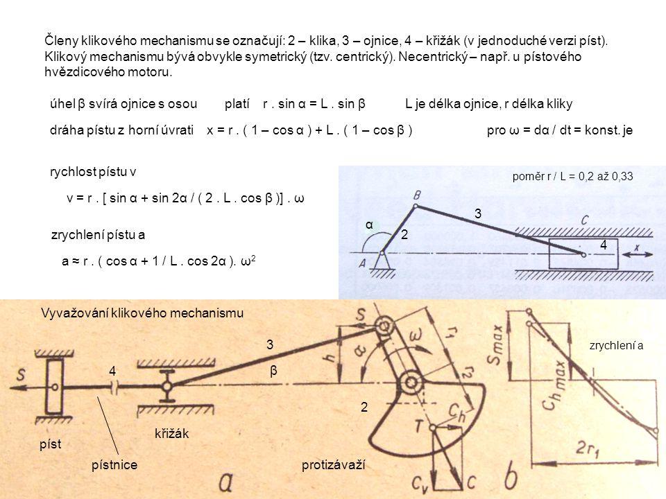 2 3 4 Vyvažování klikového mechanismu Členy klikového mechanismu se označují: 2 – klika, 3 – ojnice, 4 – křižák (v jednoduché verzi píst). Klikový mec