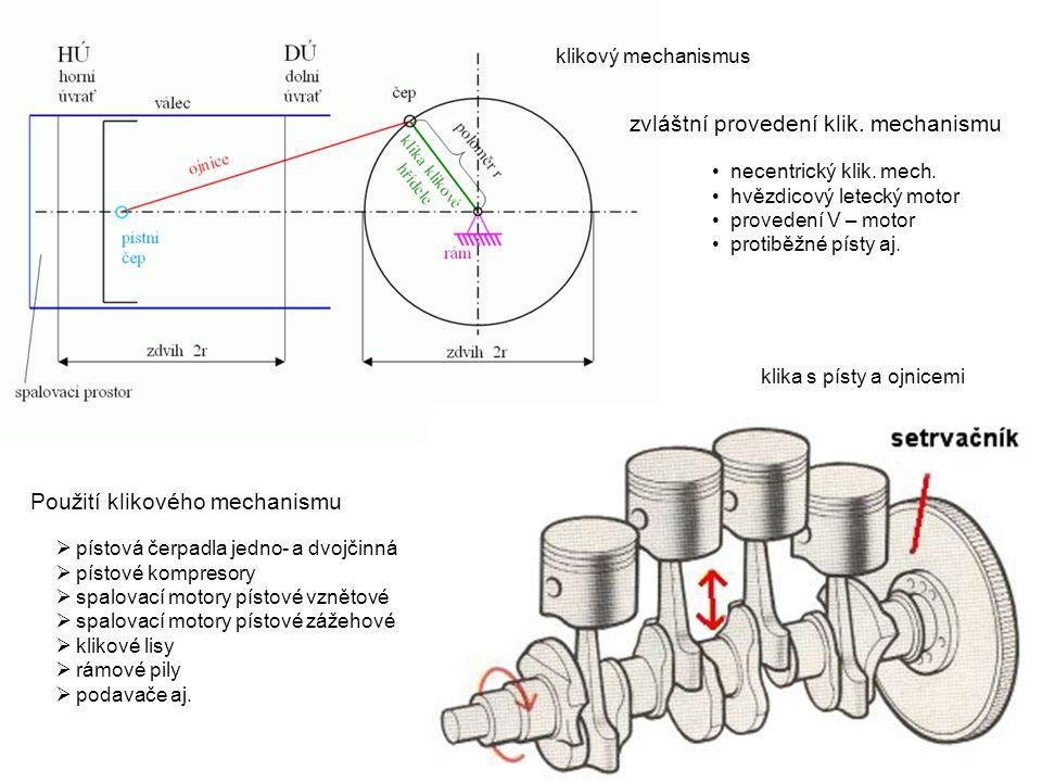 klikový mechanismus klika s písty a ojnicemi  pístová čerpadla jedno- a dvojčinná  pístové kompresory  spalovací motory pístové vznětové  spalovac