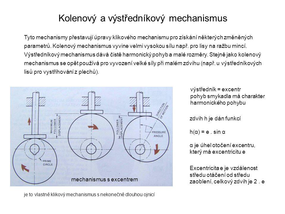 Kolenový a výstředníkový mechanismus Tyto mechanismy přestavují úpravy klikového mechanismu pro získání některých změněných parametrů. Kolenový mechan