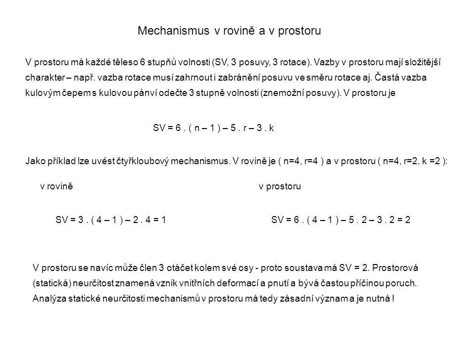 V prostoru má každé těleso 6 stupňů volnosti (SV, 3 posuvy, 3 rotace). Vazby v prostoru mají složitější charakter – např. vazba rotace musí zahrnout i