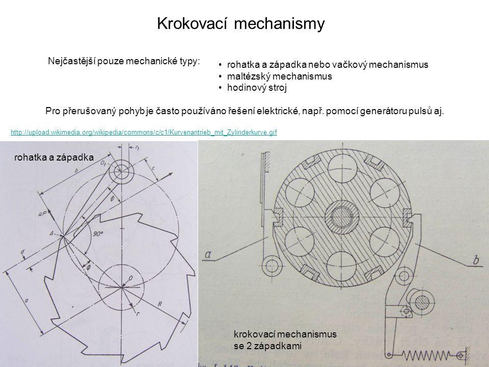 Krokovací mechanismy Nejčastější pouze mechanické typy: • rohatka a západka nebo vačkový mechanismus • maltézský mechanismus • hodinový stroj krokovac