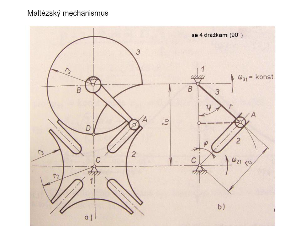 Maltézský mechanismus se 4 drážkami (90°)