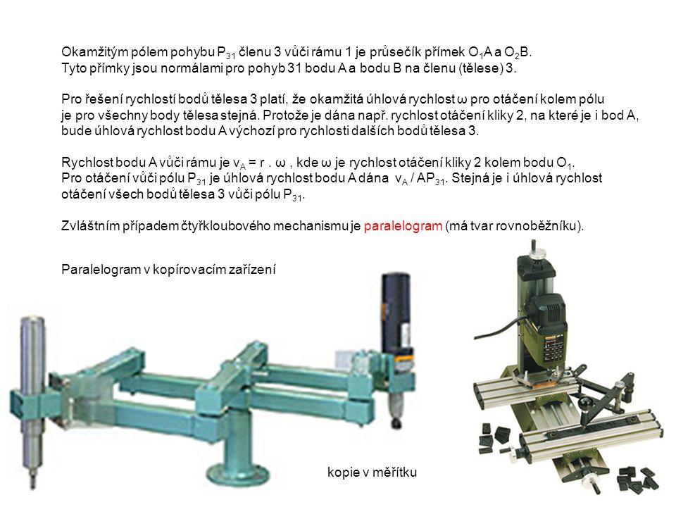 Paralelogram Čtyřkloubový mechanismus se shodnou délkou klik O 1 A = O 2 B a délkou těhlice shodnou se vzdáleností středů otáčení klik O 1 O 2 = AB.