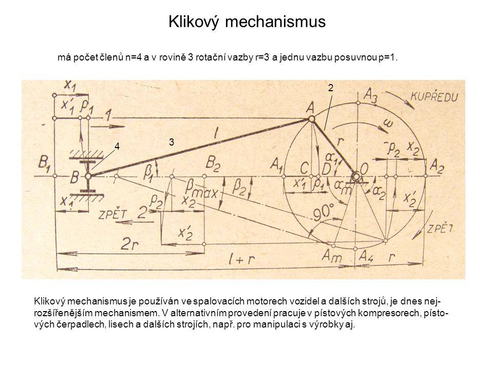 Klikový mechanismus má počet členů n=4 a v rovině 3 rotační vazby r=3 a jednu vazbu posuvnou p=1. Klikový mechanismus je používán ve spalovacích motor