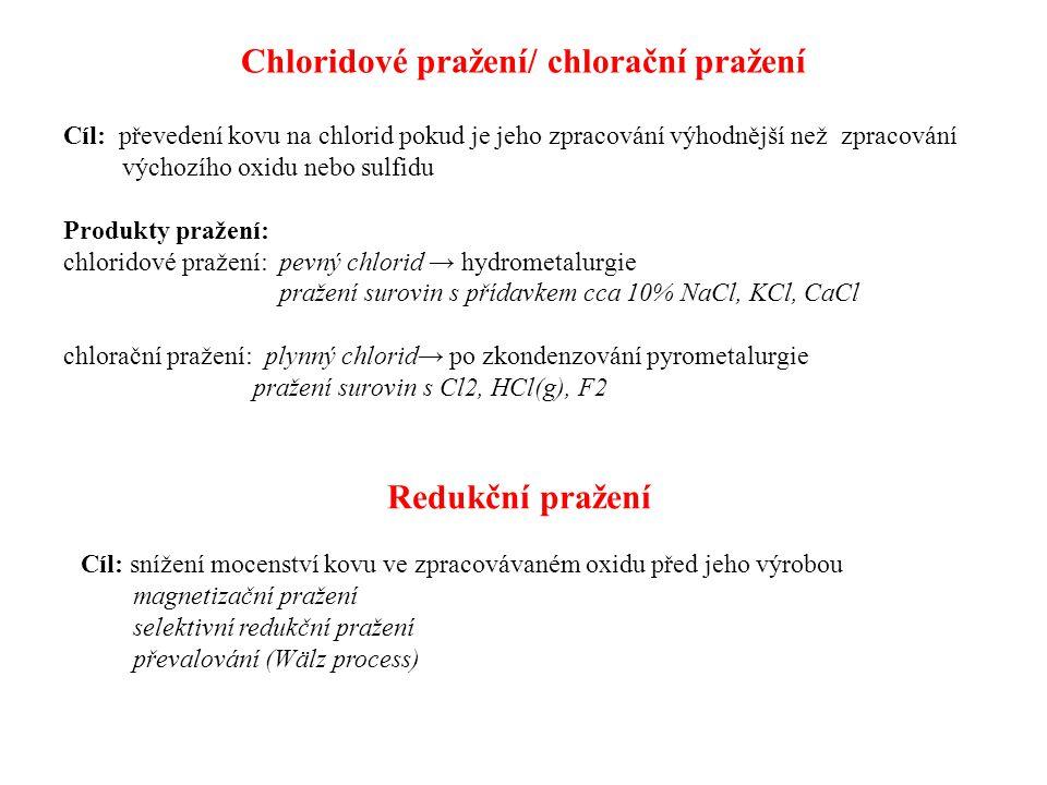 Chloridové pražení/ chlorační pražení Cíl: převedení kovu na chlorid pokud je jeho zpracování výhodnější než zpracování výchozího oxidu nebo sulfidu Produkty pražení: chloridové pražení: pevný chlorid → hydrometalurgie pražení surovin s přídavkem cca 10% NaCl, KCl, CaCl chlorační pražení: plynný chlorid→ po zkondenzování pyrometalurgie pražení surovin s Cl2, HCl(g), F2 Redukční pražení Cíl: snížení mocenství kovu ve zpracovávaném oxidu před jeho výrobou magnetizační pražení selektivní redukční pražení převalování (Wälz process)