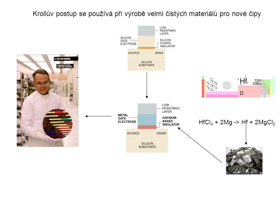 Krollův postup se používá při výrobě velmi čistých materiálů pro nové čipy HfCl 4 + 2Mg -> Hf + 2MgCl 2