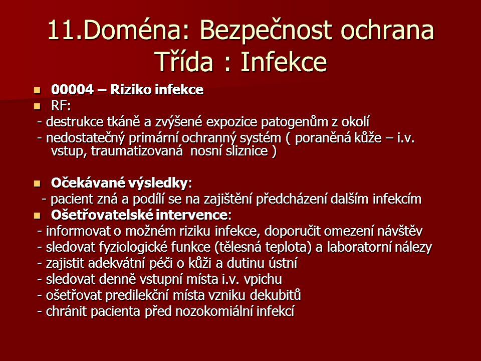 11.Doména: Bezpečnost ochrana Třída : Infekce  00004 – Riziko infekce  RF: - destrukce tkáně a zvýšené expozice patogenům z okolí - destrukce tkáně