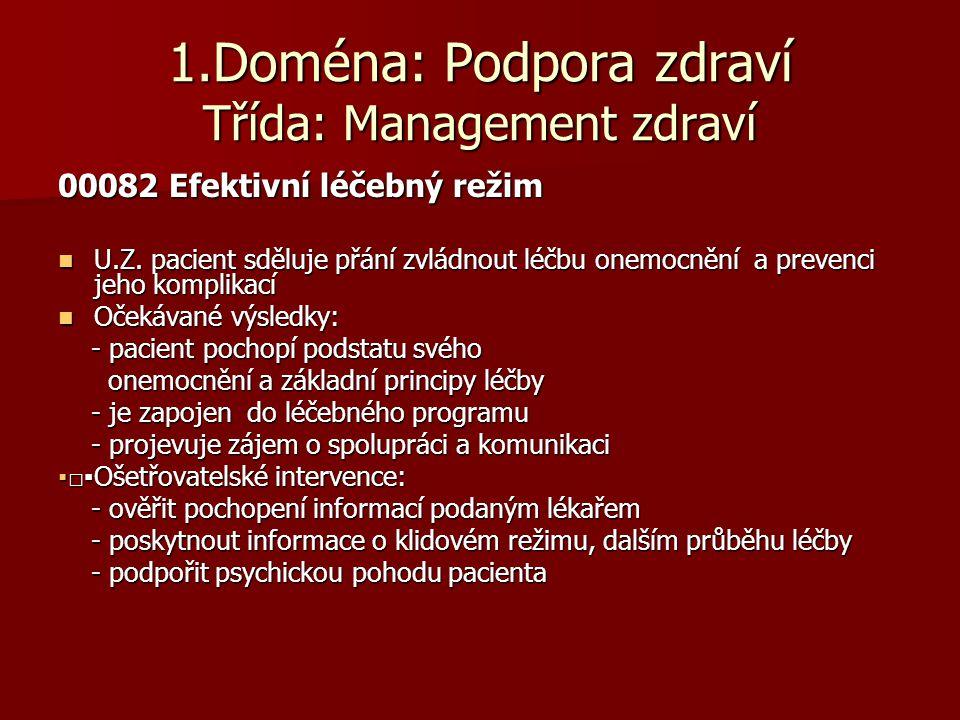 1.Doména: Podpora zdraví Třída: Management zdraví 00082 Efektivní léčebný režim  U.Z. pacient sděluje přání zvládnout léčbu onemocnění a prevenci jeh