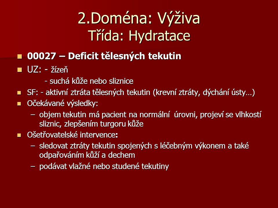 2.Doména: Výživa Třída: Hydratace  00027 – Deficit tělesných tekutin  UZ: - žízeň - suchá kůže nebo sliznice  SF: - aktivní ztráta tělesných tekuti