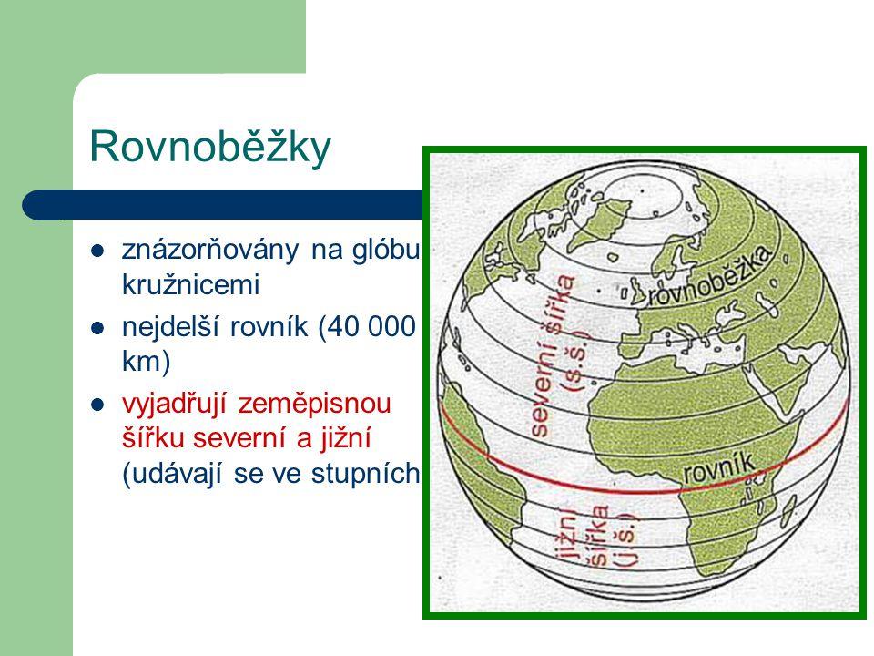 Příklady zeměpisných souřadnic pro některá města: Paříž 49°s.š. 3°v.d Praha 50°s.š. 14°v.d.