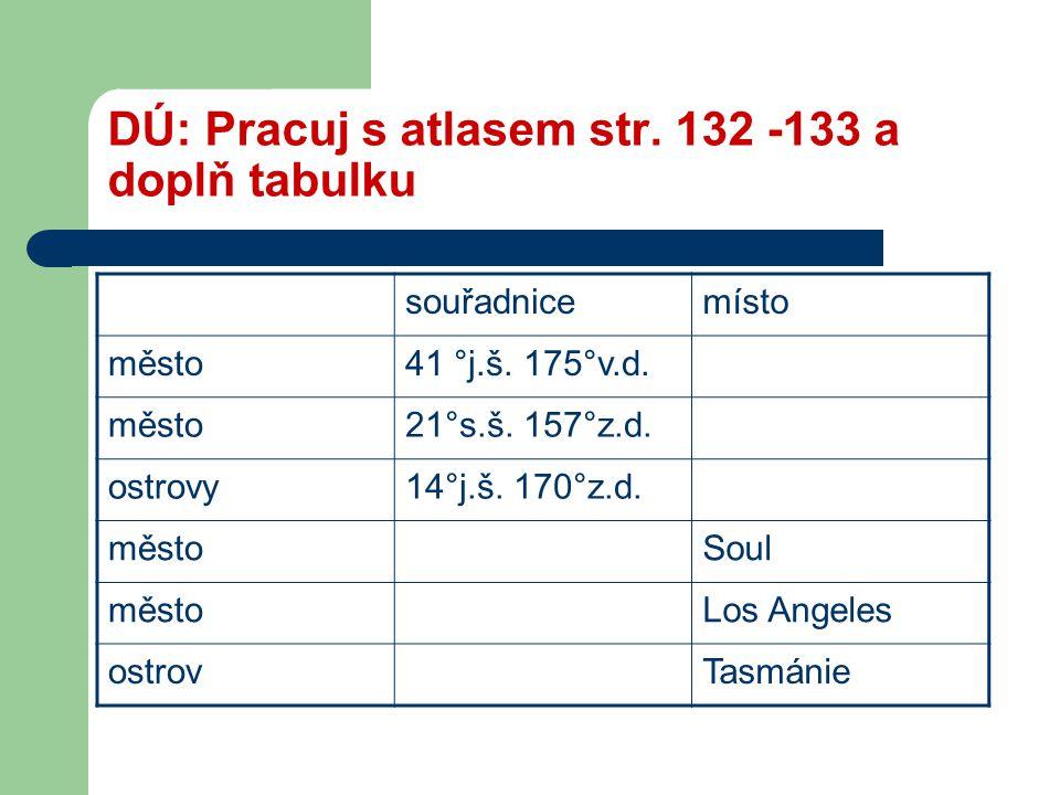 DÚ: Pracuj s atlasem str. 132 -133 a doplň tabulku souřadnicemísto město41 °j.š. 175°v.d. město21°s.š. 157°z.d. ostrovy14°j.š. 170°z.d. městoSoul měst