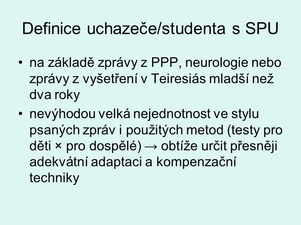 Definice uchazeče/studenta s SPU •na základě zprávy z PPP, neurologie nebo zprávy z vyšetření v Teiresiás mladší než dva roky •nevýhodou velká nejedno