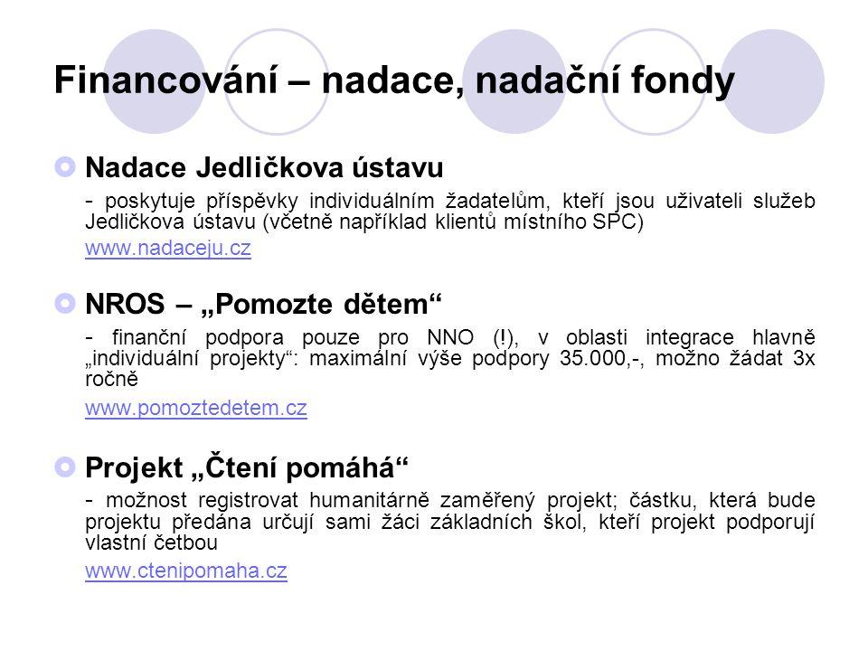 Financování – nadace, nadační fondy  Nadace Jedličkova ústavu - poskytuje příspěvky individuálním žadatelům, kteří jsou uživateli služeb Jedličkova ú