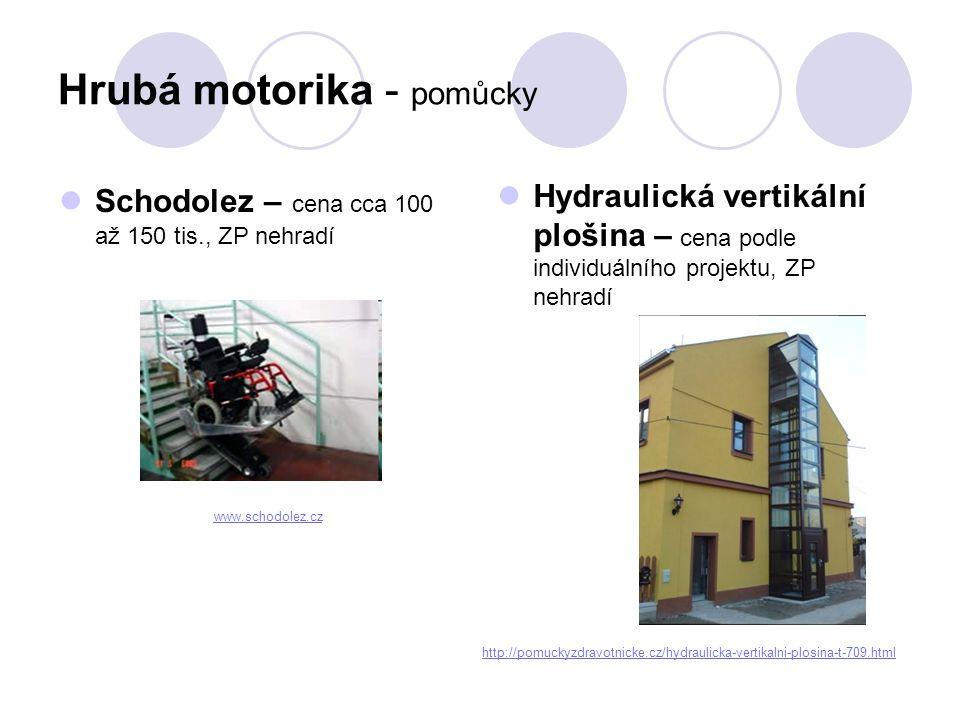 Hrubá motorika - pomůcky  Vozík mechanický – cena 8.000,- až 80.000,- podle velikosti a kvality; hradí ZP  Vozík elektrický – cena 80.000,- až 260.000,- (včetně příslušenství); hradí ZP http://pomuckyzdravotnicke.cz/mechanicky- vozik-avangarde-teen-40.html http://pomuckyzdravotnicke.cz/mec hanicky-vozik-kid-2-239.html http://pomuckyzdravotnicke.cz/detske- voziky-elektricke.html