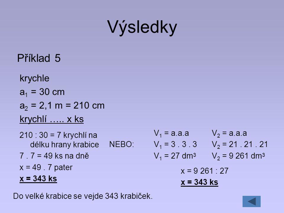 Výsledky Příklad 5 krychle a 1 = 30 cm a 2 = 2,1 m = 210 cm krychlí ….. x ks 210 : 30 = 7 krychlí na délku hrany krabice 7. 7 = 49 ks na dně x = 49. 7