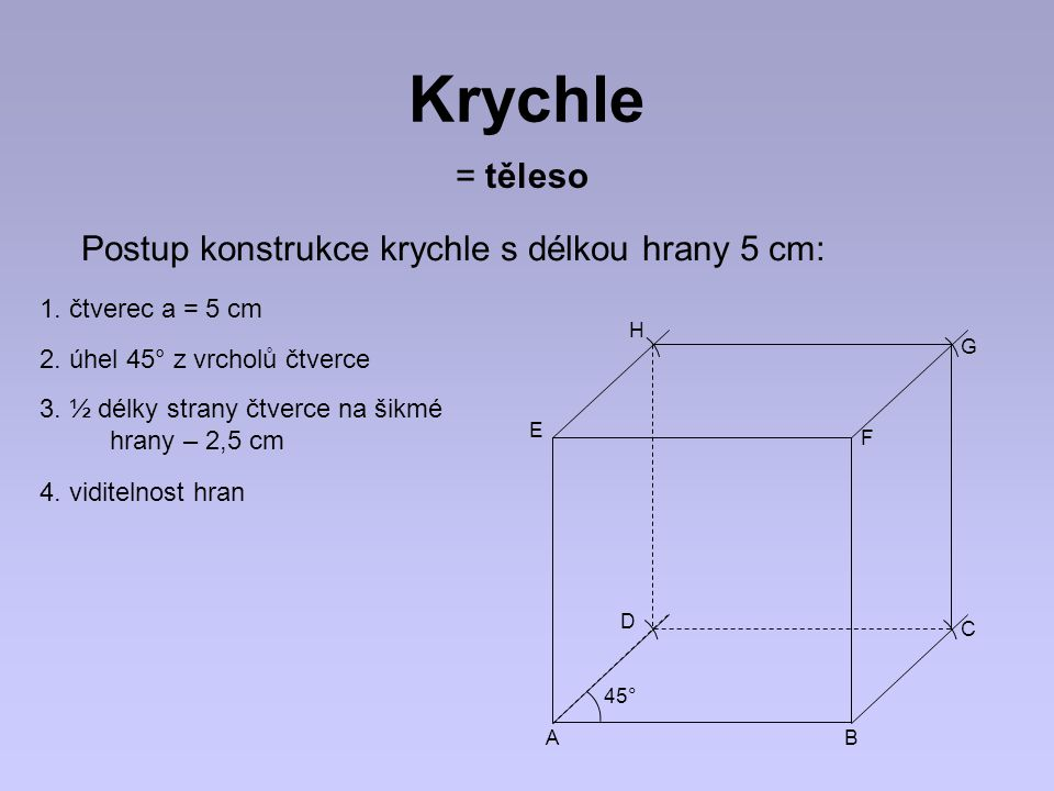 Krychle = těleso Postup konstrukce krychle s délkou hrany 5 cm: 1. čtverec a = 5 cm 2. úhel 45° z vrcholů čtverce 3. ½ délky strany čtverce na šikmé h