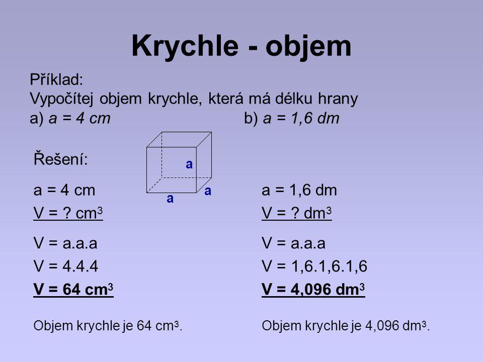 Krychle - objem Příklad: Vypočítej objem krychle, která má délku hrany a) a = 4 cm b) a = 1,6 dm a = 4 cm V = ? cm 3 V = a.a.a V = 4.4.4 V = 64 cm 3 Ř